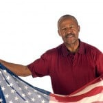 African American Patriot with flag