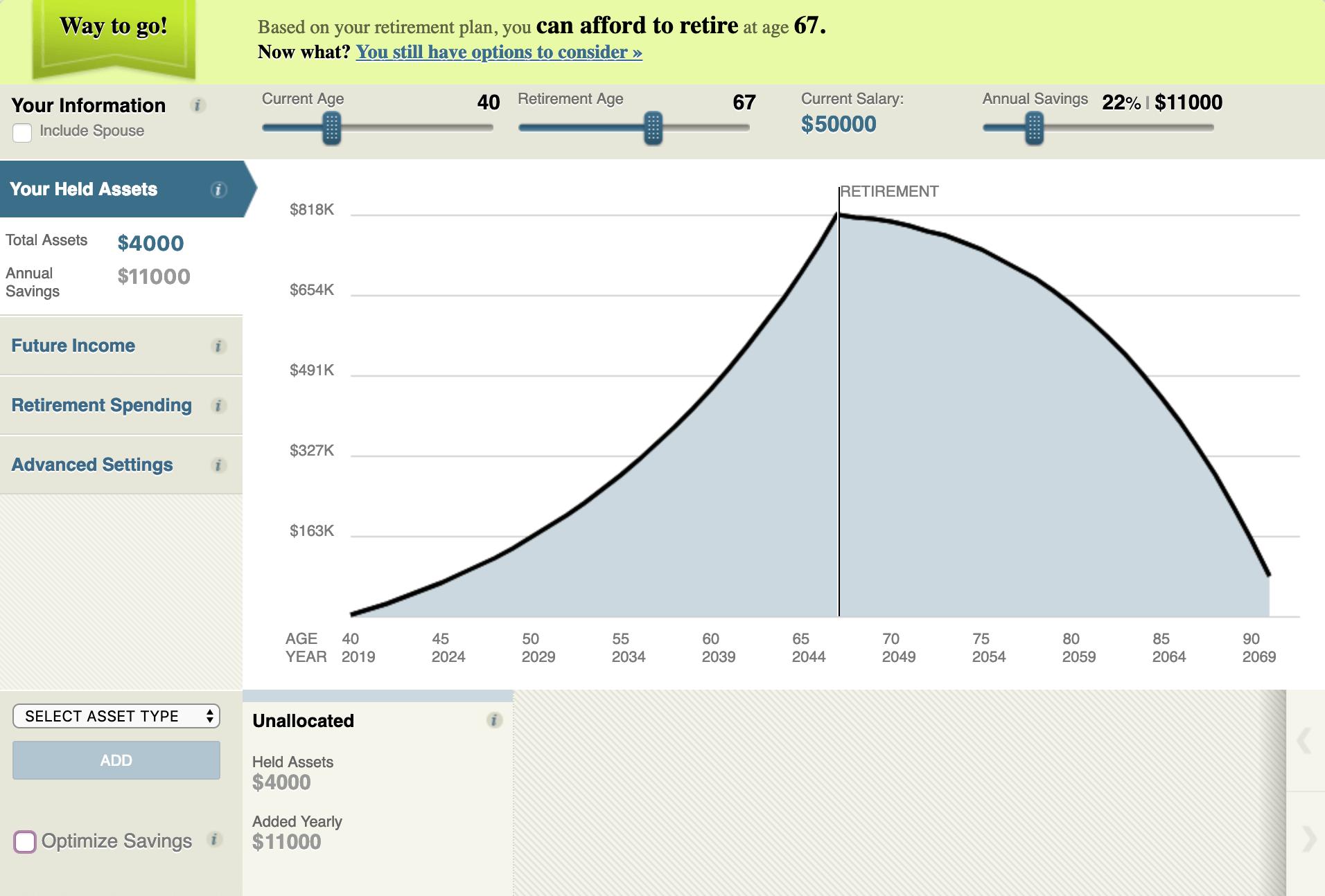 example of market watch's retirement calculator